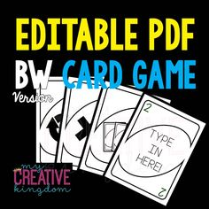 Editable PDF BW Wild Card Card Game