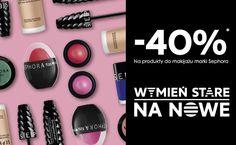 WYMIEŃ STARE NA NOWE  Przynieś swój stary produkt do makijażu, a na nowy marki Sephora otrzymasz 40% rabatu* *Oferta obowiązuje w dniach 18-30 kwietnia 2016. Oferta nie łączy się z innymi promocjami i rabatami. O szczegóły oferty pytaj konsultanta.