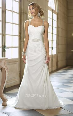 sleeveless slim a-line low back ruched bodice sheer beaded straps wedding dress