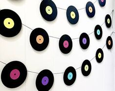 Music Garland - Party Decor - Music Decor - records - Vinyl - Photo Prop - Music Teacher Gift -Record Garland