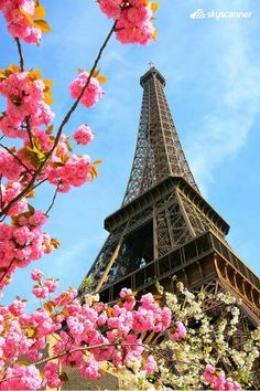 Eiffel Tower during spring time in Paris, France Europa Center, Paris In April, Eiffel Tower Painting, Paris Painting, Exotic Places, Tumblr Wallpaper, Travel And Tourism, Independence Day, Beautiful Gardens