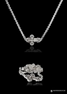"NightRider Jewelry ""Ari"" Women's Horizontal Cross Necklace in Sterling Silver 