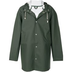 Stutterheim hooded parka (£210) ❤ liked on Polyvore featuring outerwear, coats, green, hooded parka coat, hooded coat, green parkas, stutterheim and green hooded parka