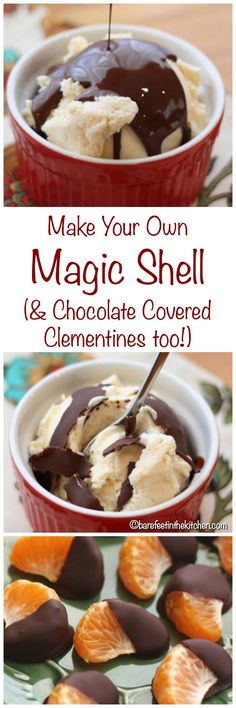 Homemade Magic Shell is so easy to make. Once you've tried it, you'll never even consider buying it again! Köstliche Desserts, Frozen Desserts, Delicious Desserts, Dessert Recipes, Yummy Food, Frozen Treats, Icing Recipes, Dessert Sauces, Fun Food