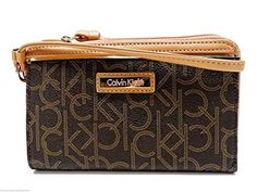Calvin Klein Signature Wristlet Handbag Brown Tech Wallet Clutch - http://bags.bloggor.org/calvin-klein-signature-wristlet-handbag-brown-tech-wallet-clutch/
