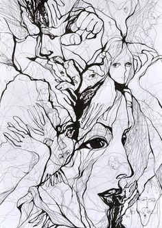 "Saatchi Art Artist: Boicu Marinela; Pen and Ink 2012 Drawing ""Fight the world"""