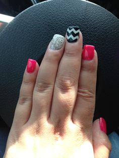 Black and white chevron, hot pink and silver gel nails thanks to Sara at Midtown Salon!