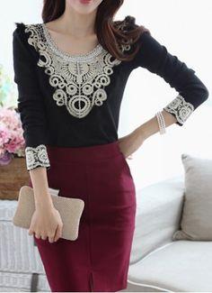 Stylish Scoop Neck Long Sleeve Lace Embellished Women's T-ShirtVintage T-shirts | RoseGal.com