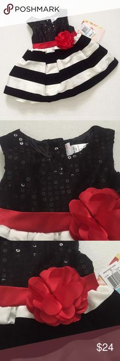 NWT! Sweat Heart Rose black and white striped dress with ball sequin top and red ribbon and flower at empire waist Brand new! Dresses