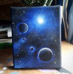 Four worlds Acrylic painting on canvas of 4 x 5 quot gt Interested in a Quatre mondes Peinture acrylique sur toile de 4 x 5 Int ress dans un Galaxy Painting Acrylic, Acrylic Art, Space Painting, Diy Painting, Painting Tutorials, Watercolor Painting, Art Galaxie, Art Mini Toile, Planet Painting
