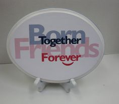 Boy Girl Twins Nursery Plaque with Stand Born by RibbonMade, $25.00