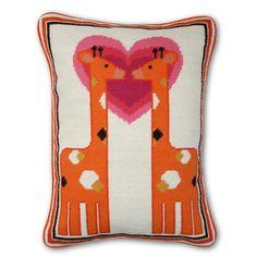 Modern Throw Pillows | Kissing Giraffe Wool Needlepoint Pillow | Jonathan Adler