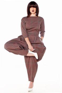 JIBRI Plus Size Mid Sleeved Jumpsuit Lady Plaid by jibrionline