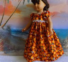 18 inch American Girl Doll Clothes Long Dress by sewgrandmacathy