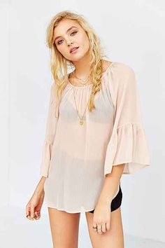 Ecote Bell-Sleeve Top PINK AND BLACK 59.00