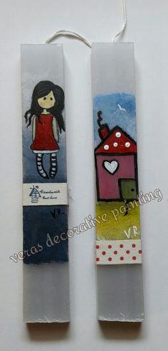 Πασχαλινές ζωγραφισμένες λαμπάδες Diy And Crafts, Easter, Candles, Painting, Easter Activities, Painting Art, Candy, Paintings, Candle Sticks