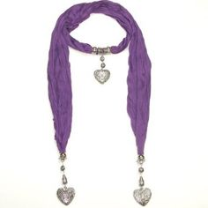 #Women's Beautiful #Jewellery #Scarf with Heart Pendants - Perfect Gift for Her - Available in Black, Purple, Red, Grey, Pink, Green, White and Blue. Wear it with your tees and shorts or jeans in summer for easy, breezy and colourful look. Or wear it in winter to keep winter chill away.