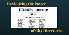 Maximizing The Power of City Directories