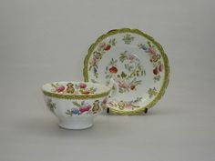 1820 - 1840 china tea cup and saucer. Floral decoration in green, red, blue and gold. Marked to cup base in green with a 2686. Gold applied to scalloped edges of cup and saucer. Size: Cup - 5 x 10.5 x 9cms. | eBay!