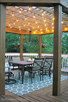 Beautiful Pergola Outdoor Dining Room with Lights. Inspiring DIY Outdoor Lighting Project Ideas for Summer Patio and Yard. Wooden Pergola, Outdoor Pergola, Backyard Pergola, Outdoor Dining, Outdoor Decor, Cheap Pergola, White Pergola, Outdoor Ideas, Steel Pergola