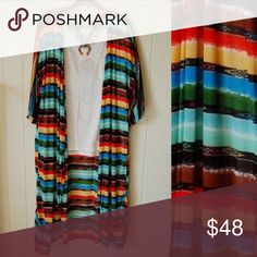 Serape Duster Dusters are life!  We are all obsessed with this serape duster!  It's bright, vibrant colors are just the thing you need to breathe some life into your wardrobe for Spring. Fits true to size!! No trades! Bundle to save! Sweaters Cardigans