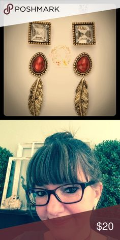♨️FLASH SALE TODAY♨️ Boho Earring Set💕 Boho earring set with four earring pairs. This listing is for the coral set. Beautiful, small, everyday earring set. Please see picture for size comparison. I am wearing the feather earrings💕.  Material content: lead and nickel compliant. Imported.  Bundle and save more!!👍 October Love Jewelry Earrings