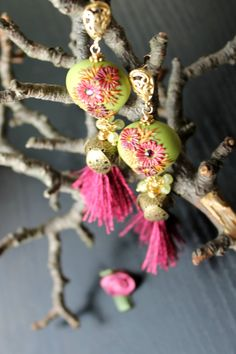 Lime Green CZ clay swarowski crystal and silk by Peelirohini, $69.00