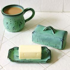 My breakfast of coffee and buttered toast would look even more enticing with these on my kitchen counter~  Covered Butter Dish  Aqua Turquoise Mist  French by BackBayPottery, $34.00
