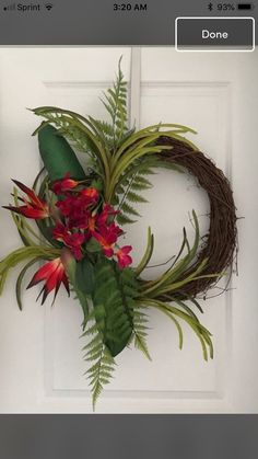 Tropical Bird of Paradise Wreath Spring Door Wreaths, Xmas Wreaths, Summer Wreath, Diy Wreath, Grapevine Wreath, Wreath Ideas, Tropical Floral Arrangements, Flower Arrangements, Velvet Pumpkins