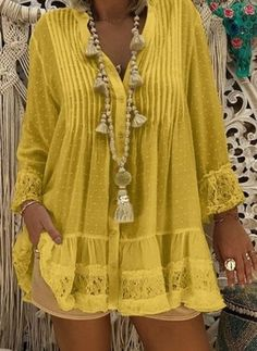 Women Bohemian Beach Dress Loose Ladies Boho Dresses Trendy Frocks Large Size Tunic Clothing Summer Beachwear Lace Sommerkleid - Women Plus Size Ideas Mode Chic, Polka Dot Blouse, Polka Dots, Mode Hijab, Loose Tops, Plus Size Blouses, Lace Sleeves, Blouses For Women, Plus Size Fashion