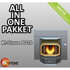 """Het K-stove #pelletkachel All-in-1 pakket met flinke korting! De K-Stove 8010 pelletkachel is ontworpen om geplaatst te worden daar waar nu uw #openhaard is. Met 13 KW is dit een pelletkachel die ruimtes tot 130m² op temperatuur houdt, en is de krachtigste uit de serie """"stand alone """"K-Stove pellet kachels. #Fireplace #Fireplaces"""