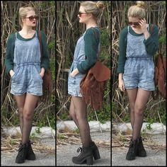 Denim Romper, H&M Platform Boots, H&M Sweater, American Eagle Fringe Backpack
