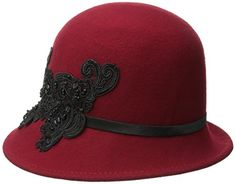 San Diego Hat Company Women's Wool Felt Cloche Hat with Sequin Lace Aplique Trim, Red, One Size San Diego Hat Company http://www.amazon.com/dp/B00WWIG2QO/ref=cm_sw_r_pi_dp_uKmXwb1E4C433