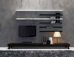 How cool is this!? A little too modern but I love the floating shelves