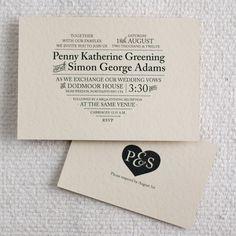 Classic Type Heart / Printable Wedding Invitation & RSVP Postcard. $50.00, via Etsy.