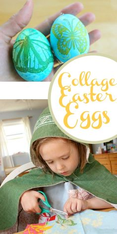 Decorating Easter Eggs with Paper Napkins Collage