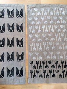 LOVE:  Block Printed Tea Towels by Sarah Golden