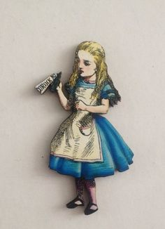 Drink Me Wooden Alice Brooch Illustration by TheRowanTreeOnline