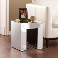 Mirrored Side Table Silver Living Room Accent Furniture End Night Stand Set of 2 #MirroredSideTable