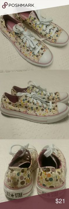 Polkadot converse sneakers All Star Chuck Taylor Women's size 9 polkadot Converse, Chuck Taylor All Star, preowned condition, pink, purple, brown, yellow Converse Shoes Sneakers
