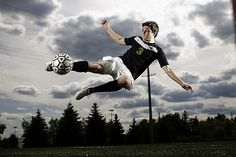 kicking a ball or hitting a ball is a good way to