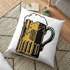 'Cold Beer' Floor Pillow by Beer-Bones Floor Pillows, Throw Pillows, Best Beer, Free Stickers, Pillow Design, Bones, My Arts, Cushions, Cold