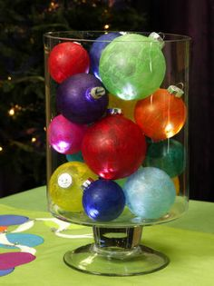 All Aglow Ornament Centerpiece, Set your holiday table aglow with a colorful centerpiece ..Craft