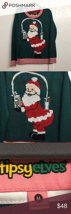 Tipsy elves Santa broke the Internet sweater M Cute/ugly Christmas sweater by Tipsy elves. Worn once to a holiday party. Made me 😂🤣 when I first saw it. Poking fun at the Kim K cover. Green and red. Great condition. No odors. tipsy elves Sweaters Crew & Scoop Necks