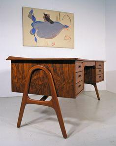 Danish rosewood desk by Svend Madsen. Hayloft Mid Century