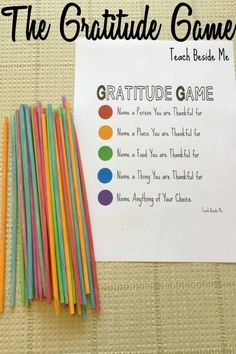 Game: Pick-Up Sticks The Gratitude Game is a fun family activity for Thanksgiving. Get kids thinking about all they are thankful for! via Gratitude Game is a fun family activity for Thanksgiving. Get kids thinking about all they are thankful for! Thinking Day, Social Thinking, Family Activities, Sisterhood Activities, Mutual Activities, Leadership Activities, Bible Activities For Kids, Social Skills Activities, Counseling Activities