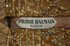 Pierre Balmain couture beaded gold faille evening gown, early 1960s, labelled…