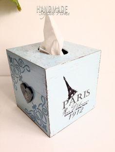 amazing shabby chic paris themed tissue box cover/ kleenex holder / baby blue by HandmadeStylishHome