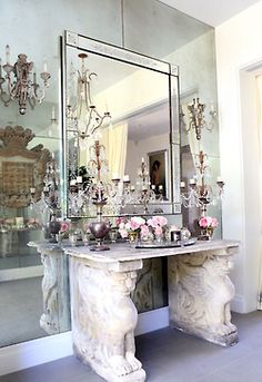 Perfect vanity.    Lisa Vanderpump's home.