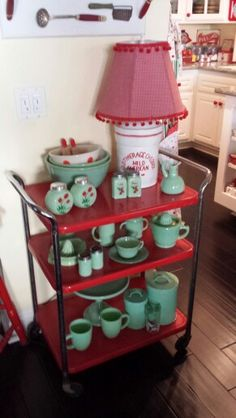 House of Bliss jadeite collection Love the lampshade - I had a cart identical to this in green in the early 70's.